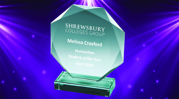 SCG Awards trophy for Melissa Croxford