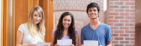 students holding exam results