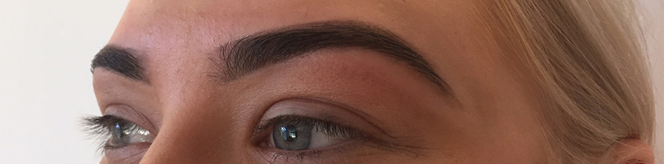 Finished eyebrow shaping procedure