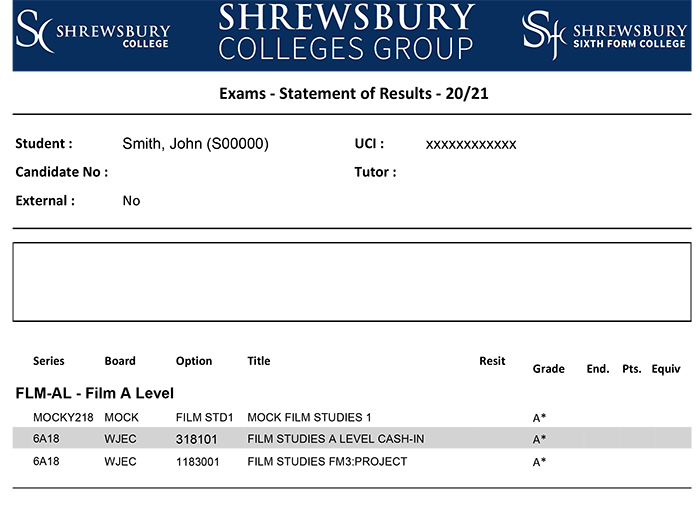 screen shot of exams statement of results page