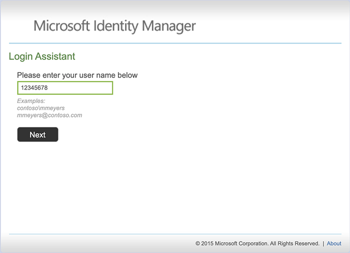screen shot of the login assistant