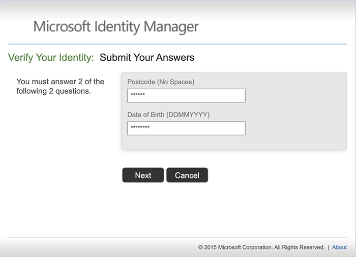 screen shot of verify your identity section