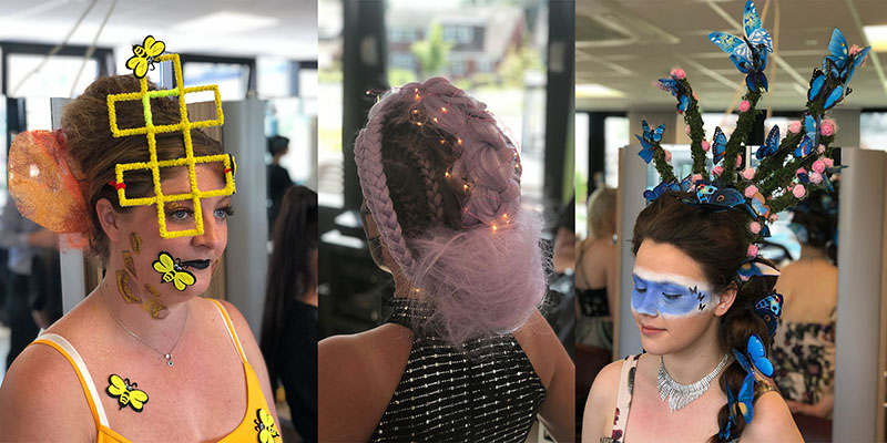 Entries to the College's annual hair competition
