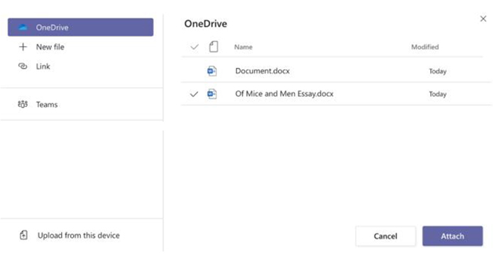 screen grab of one drive